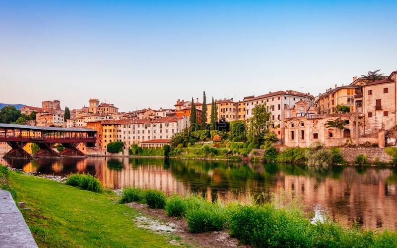 Bassano del Grappa Ponte Vecchio in Veneto Region Northern Italy.  stock photography