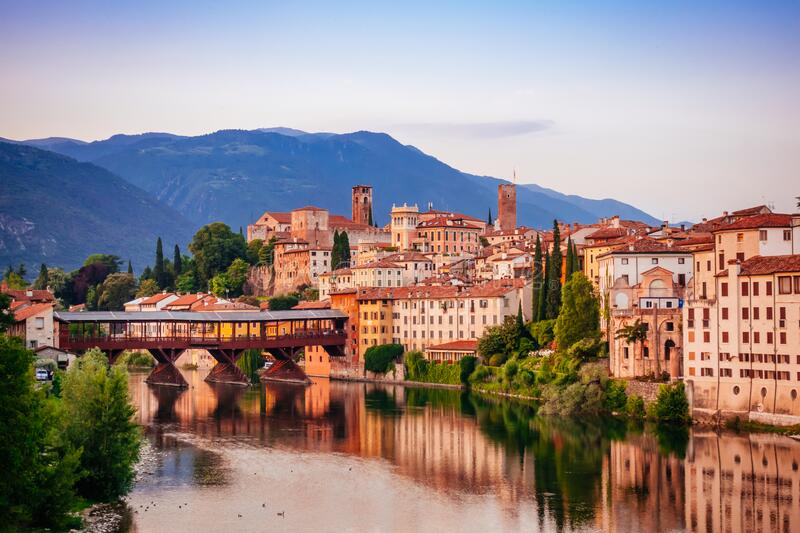 Bassano del Grappa Ponte Vecchio in Veneto Region Northern Italy.  stock photos