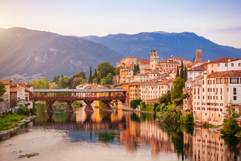 Bassano del Grappa Ponte Vecchio in Veneto Region Northern Italy.  royalty free stock photo