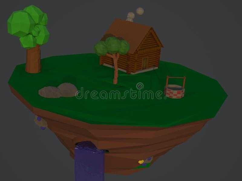 Basse île verte polygonale rendu 3d images libres de droits