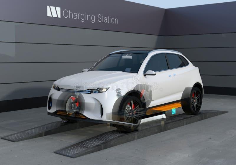Basse batterie de SUV d'échange électrique de voiture dans la batterie permutant la station illustration libre de droits
