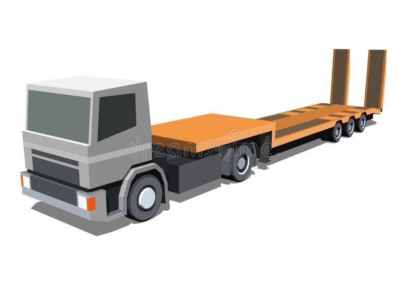 Basse icône de camion de remorque de chargeur illustration de vecteur