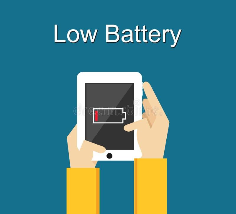 Basse illustration de batterie Conception plate Bas avis de batterie sur l'écran de téléphone illustration de vecteur