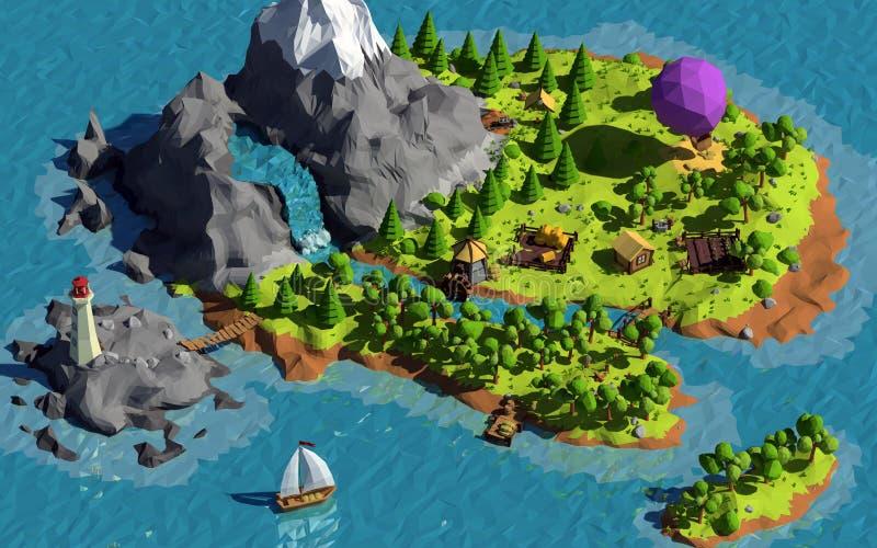 Basse poly île illustration libre de droits