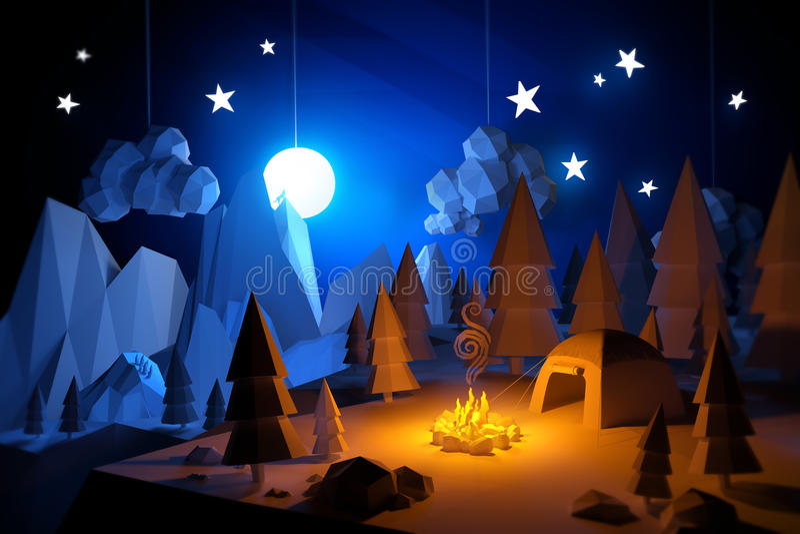 Basse poly aventure de camping illustration libre de droits