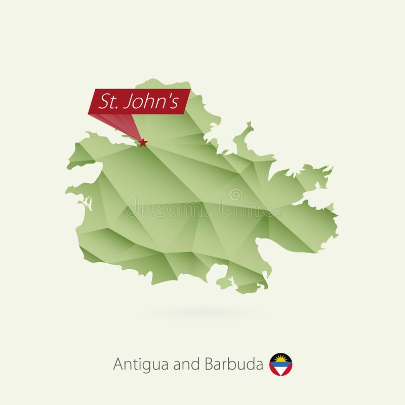 Basse poly carte de gradient vert de l'Antigua-et-Barbuda avec St John capital illustration libre de droits
