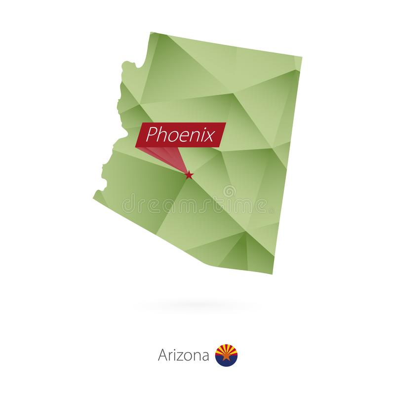 Basse poly carte de gradient vert de l'Arizona avec la capitale Phoenix illustration de vecteur