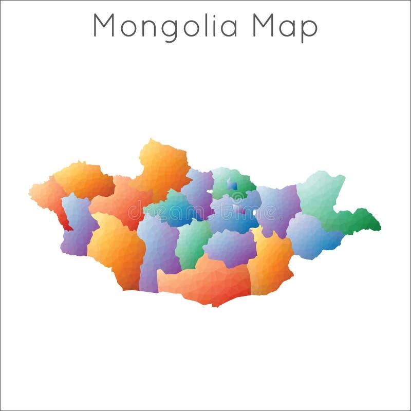 Basse poly carte de la Mongolie illustration stock