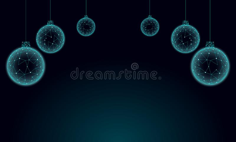 Basse poly carte de voeux de vacances de boules d'arbre de Noël 3D Noir foncé bleu de ciel nocturne de bonne année Frontière supé illustration de vecteur