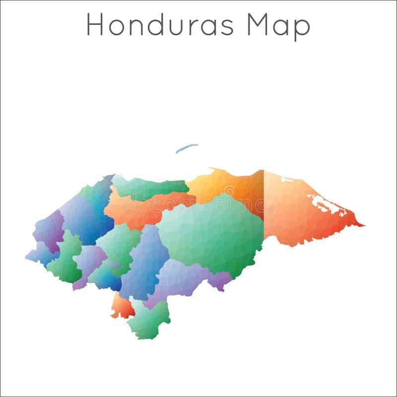 Basse poly carte du Honduras illustration libre de droits