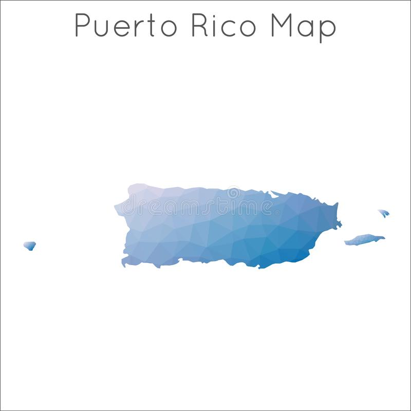 Basse poly carte du Porto Rico illustration libre de droits