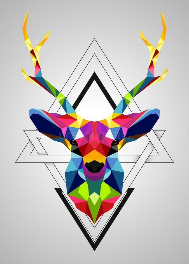 Basse poly conception de cerfs communs colorés illustration libre de droits