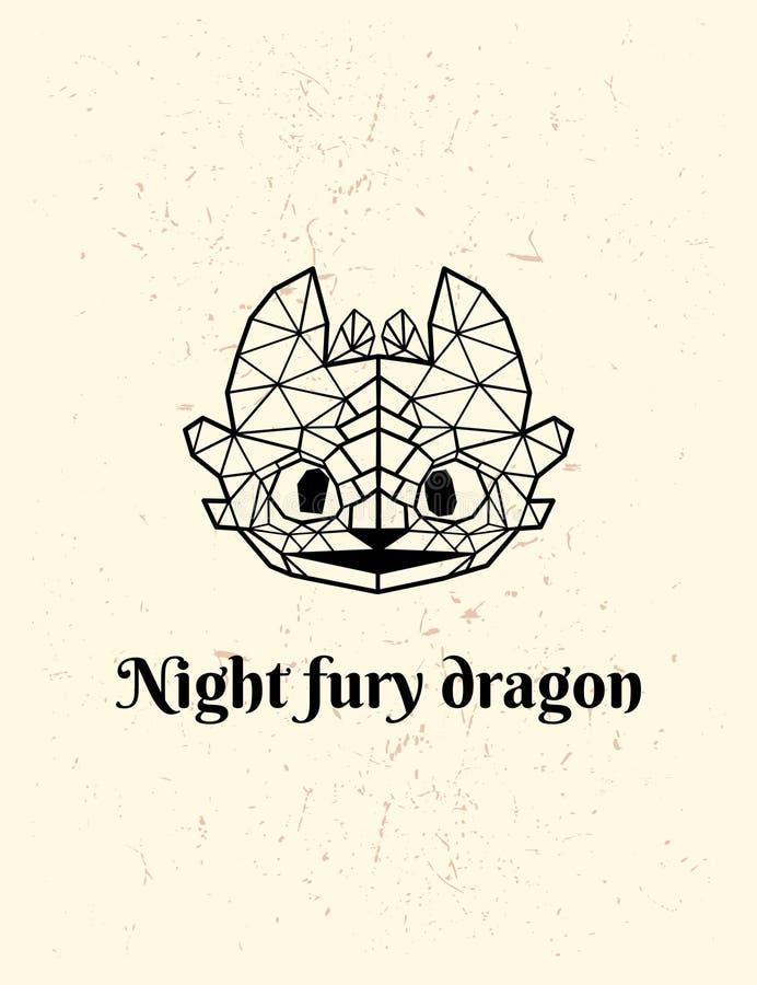 Basse poly conception de fureur de nuit Dragon de vecteur de Poligonal illustration stock