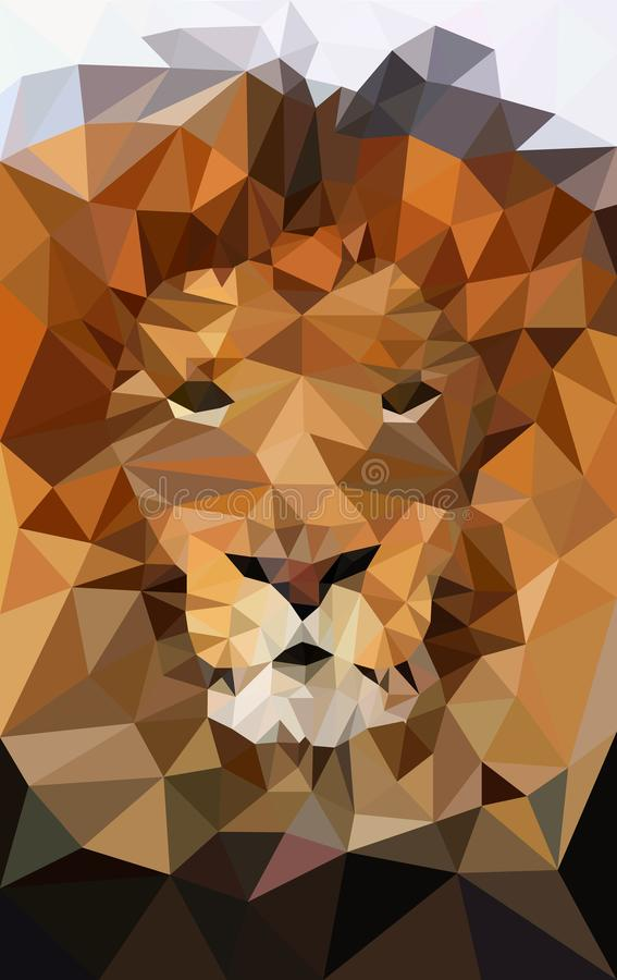Basse poly conception Illustration de lion illustration stock