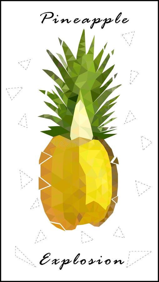 Basse poly explosion d'ananas d'ananas illustration de vecteur
