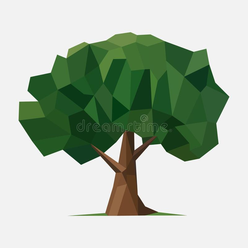 Basse poly illustration d'arbre illustration stock