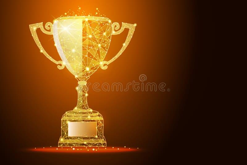 Basse poly illustration de la tasse de gagnant un effet d'or de la poussière, avec l'espace pour votre texte illustration de vecteur