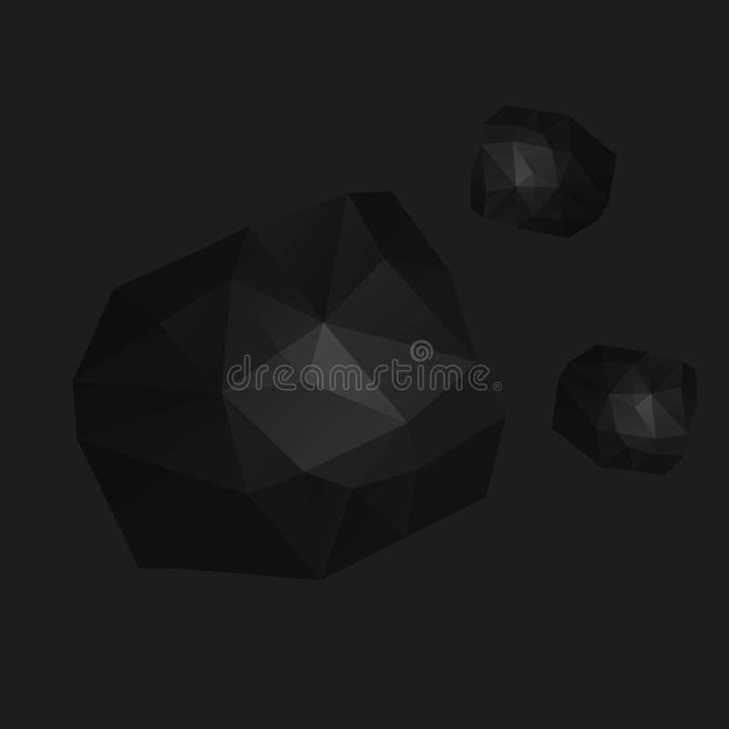 Basse poly illustration de vecteur d'une roche illustration stock