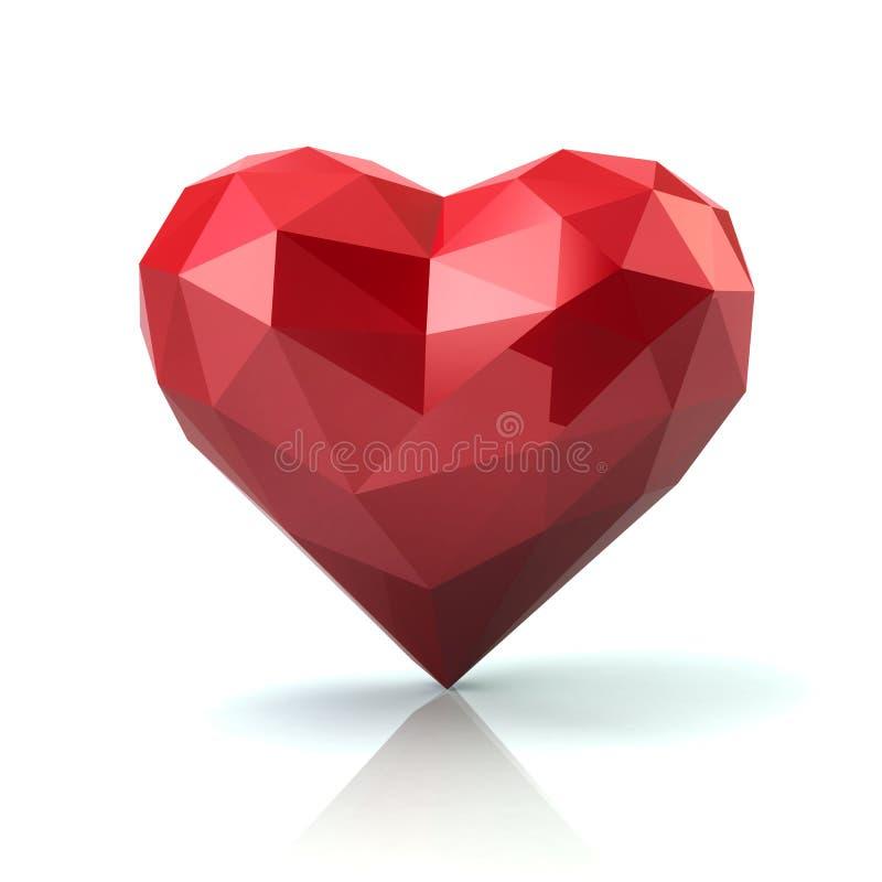 Basse poly illustration rouge du coeur 3d sur le fond blanc illustration de vecteur