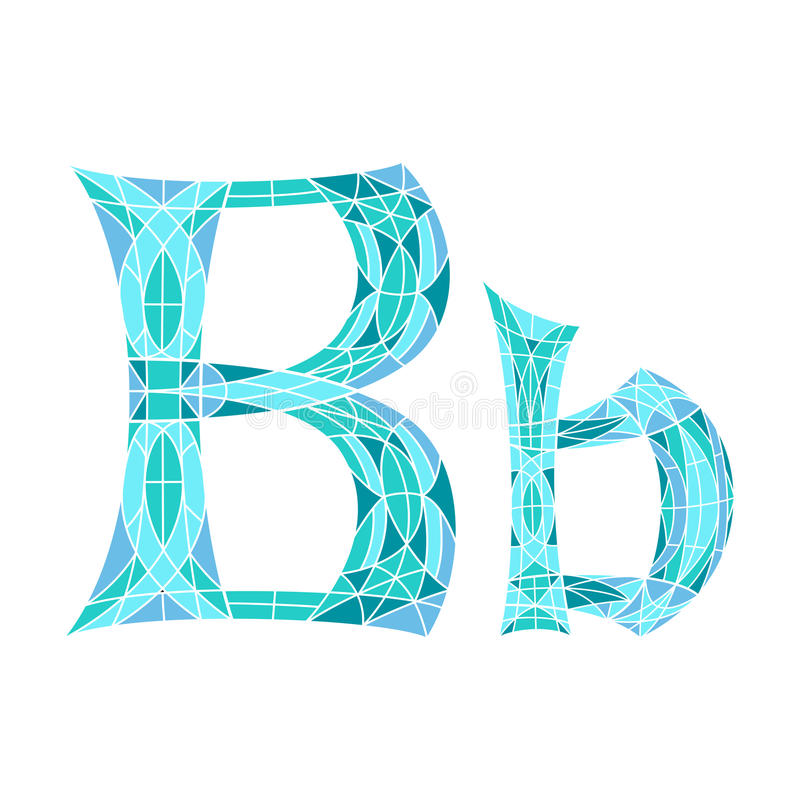 Basse poly lettre B dans le polygone bleu de mosaïque illustration stock
