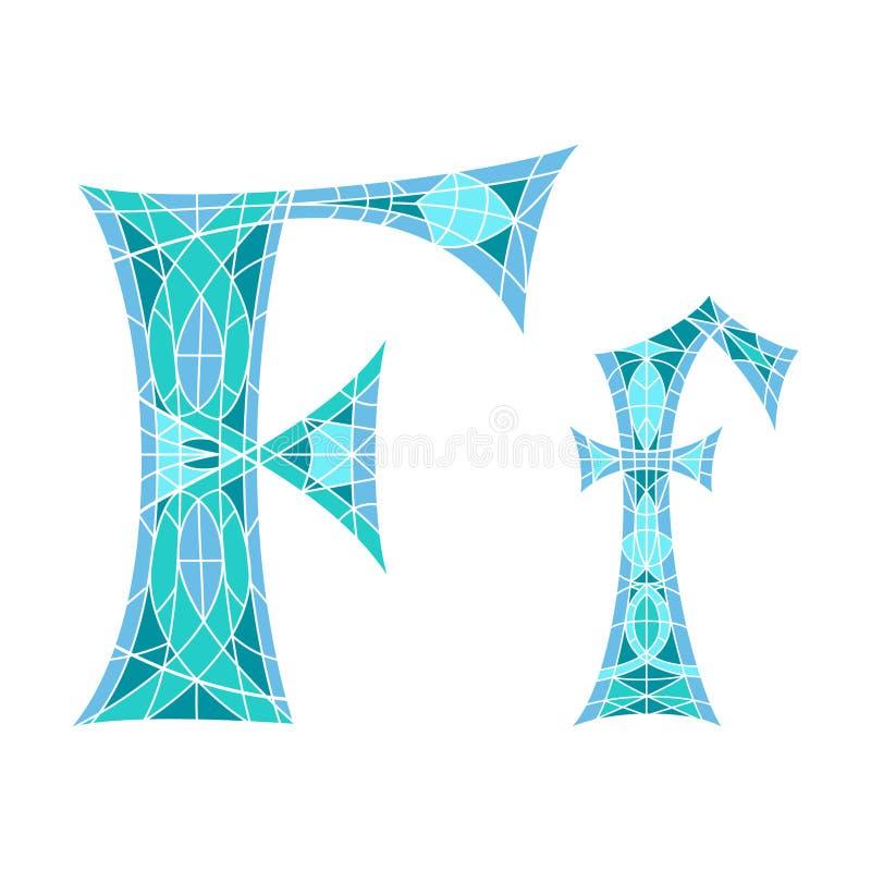 Basse poly lettre F dans le polygone bleu de mosaïque illustration libre de droits