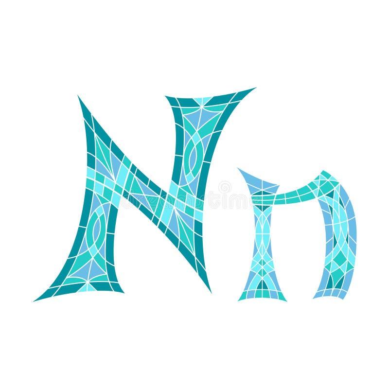 Basse poly lettre N dans le polygone bleu de mosaïque illustration de vecteur