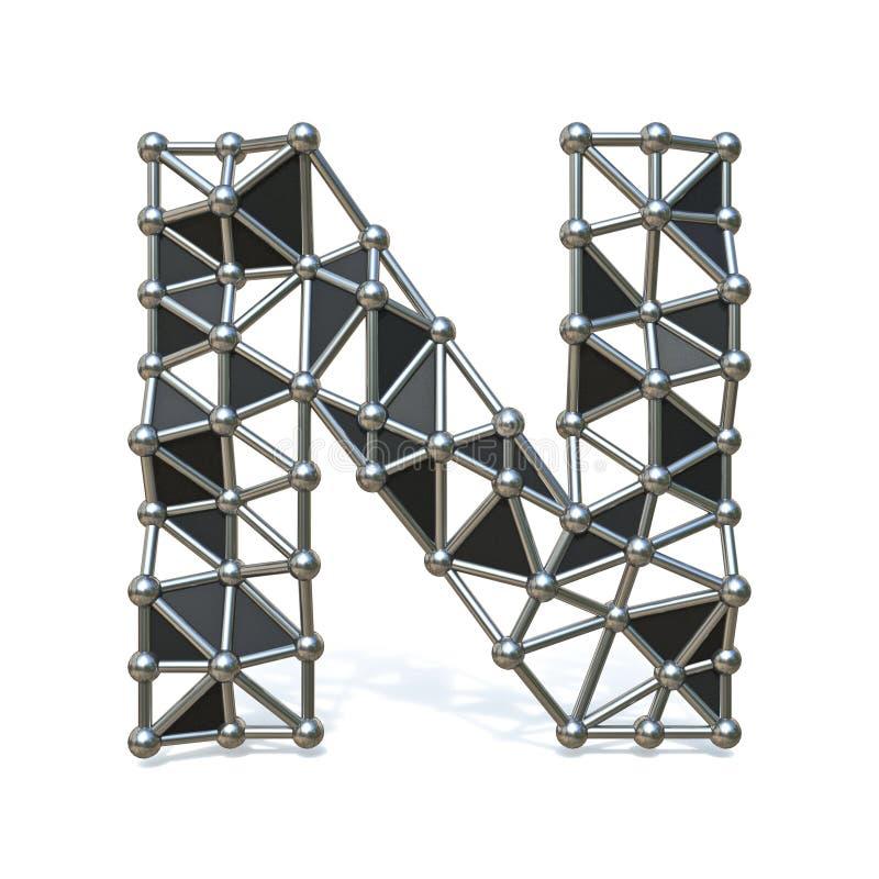 Basse poly lettre N noire 3D de police en métal de fil illustration libre de droits