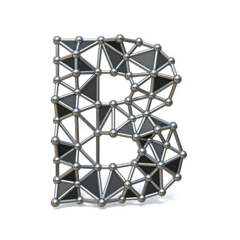 Basse poly lettre noire B 3D de police en métal de fil illustration de vecteur