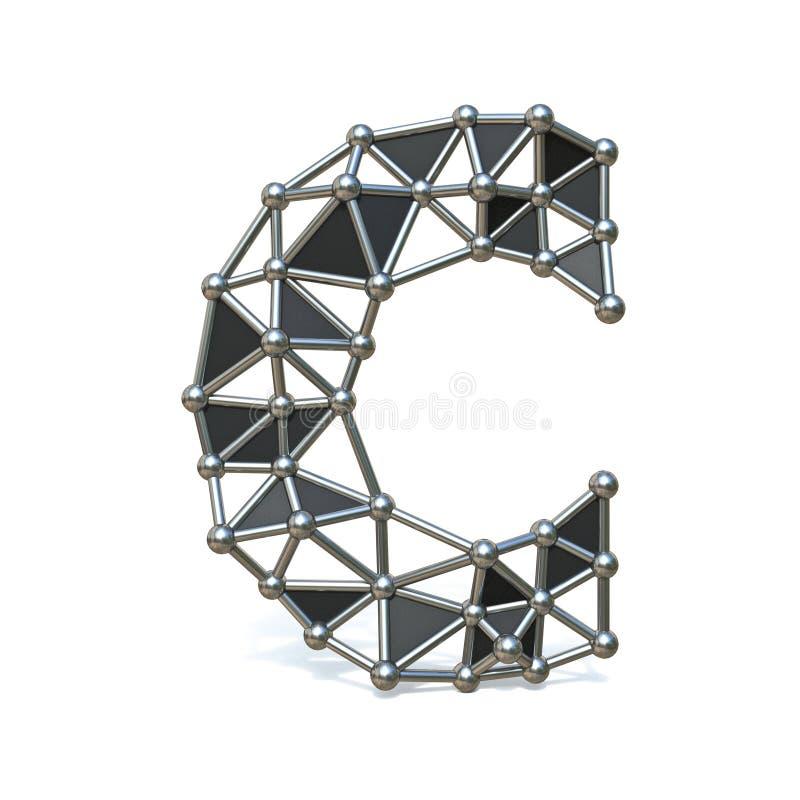 Basse poly lettre noire C 3D de police en métal de fil illustration stock