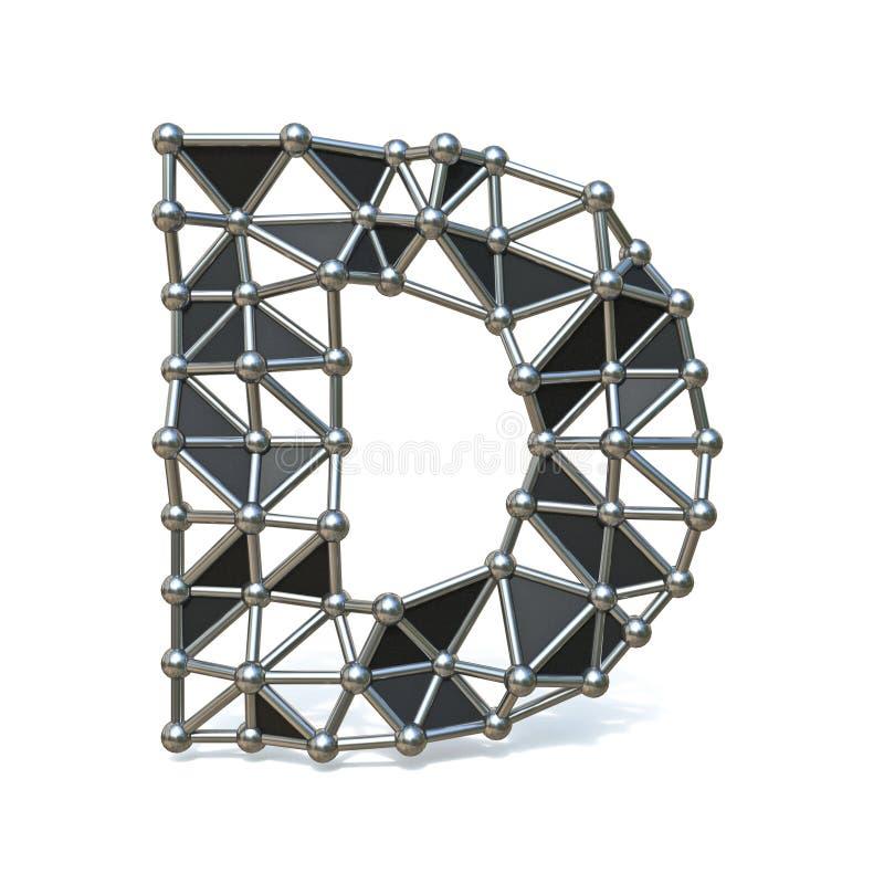 Basse poly lettre noire D 3D de police en métal de fil illustration libre de droits