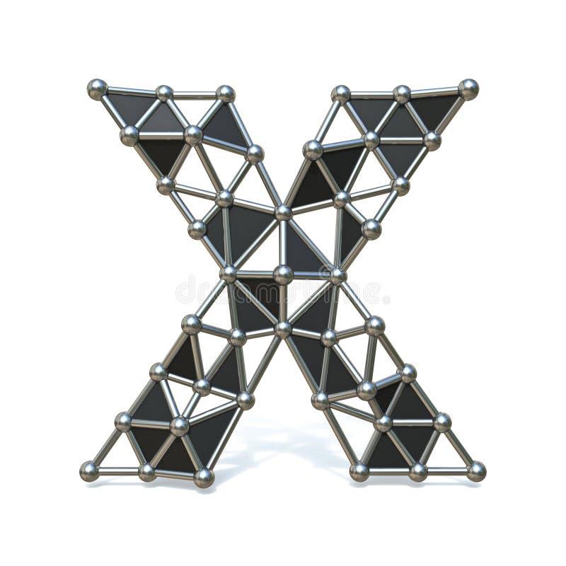 Basse poly lettre noire X 3D de police en métal de fil illustration de vecteur