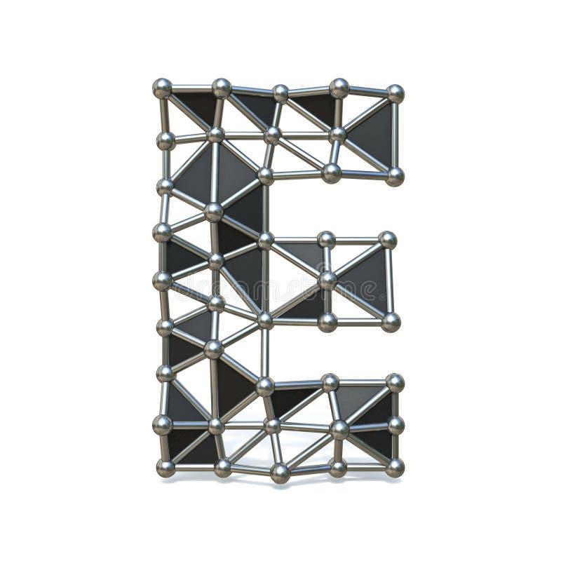 Basse poly lettre noire E-3D de police en métal de fil illustration de vecteur