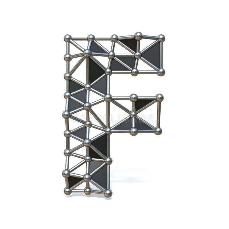 Basse poly lettre noire F 3D de police en métal de fil illustration de vecteur