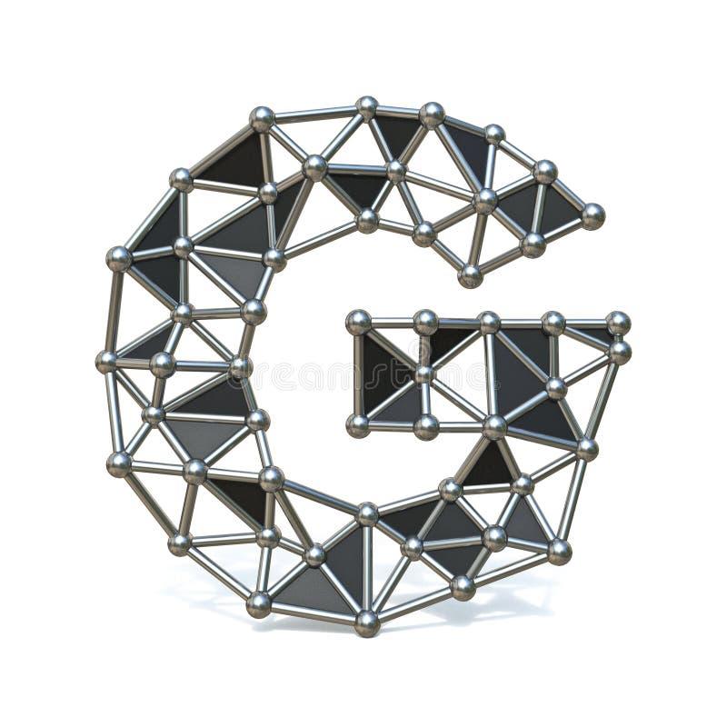 Basse poly lettre noire G 3D de police en métal de fil illustration stock