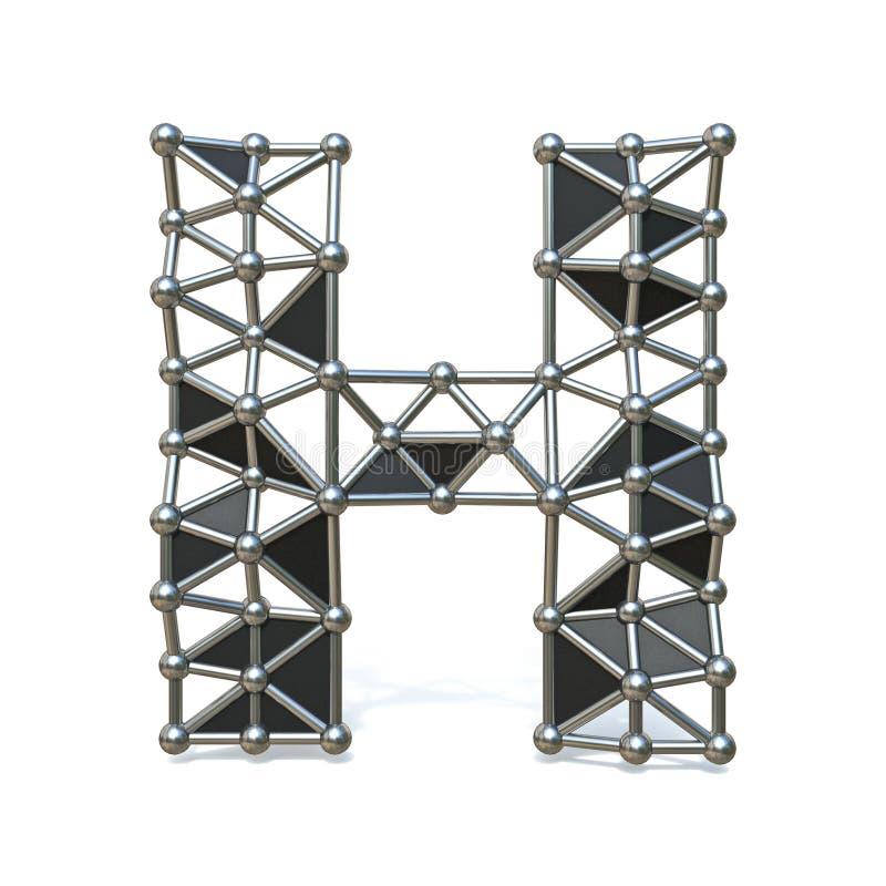 Basse poly lettre noire H 3D de police en métal de fil illustration de vecteur