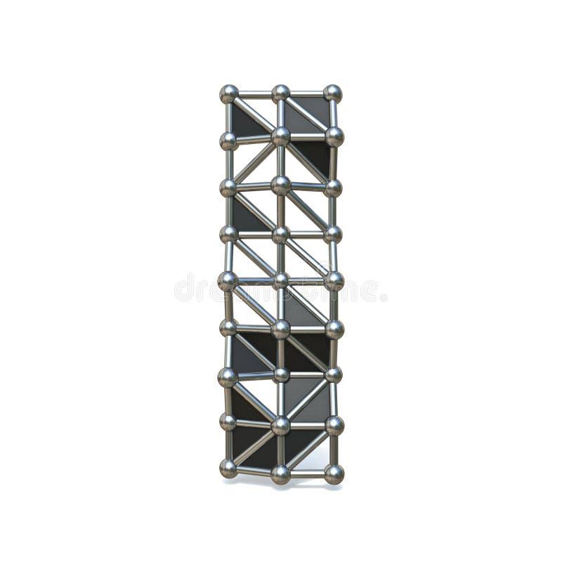 Basse poly lettre noire I 3D de police en métal de fil illustration de vecteur