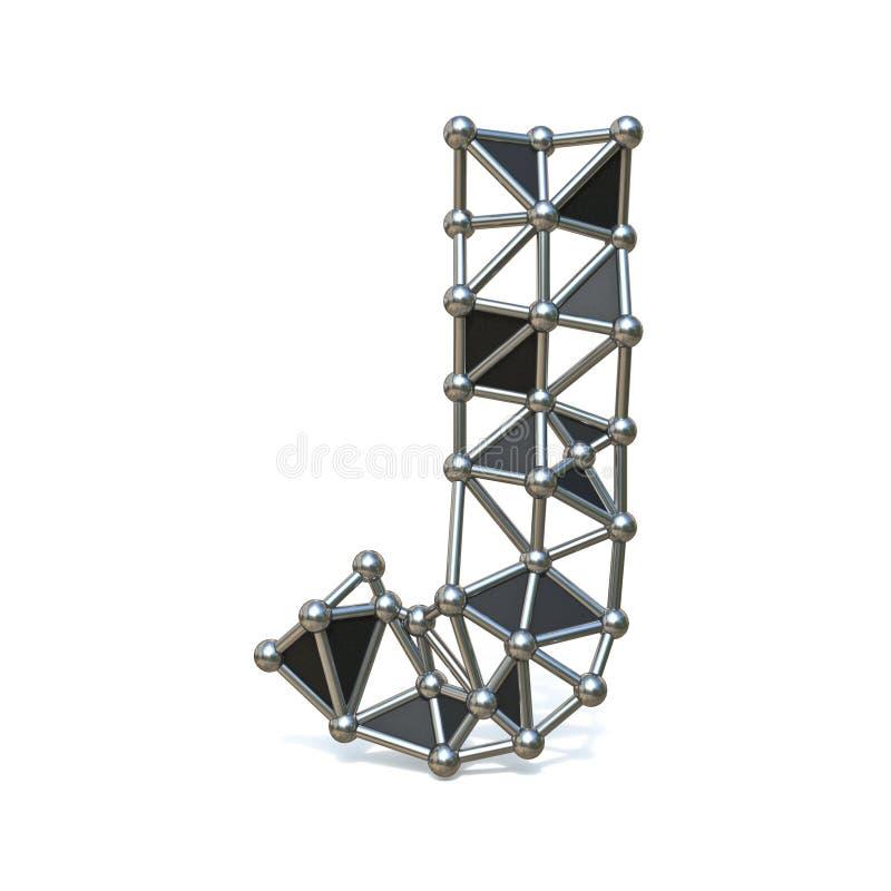 Basse poly lettre noire J 3D de police en métal de fil illustration libre de droits