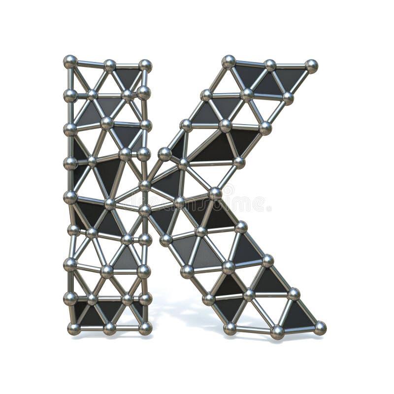 Basse poly lettre noire K 3D de police en métal de fil illustration stock