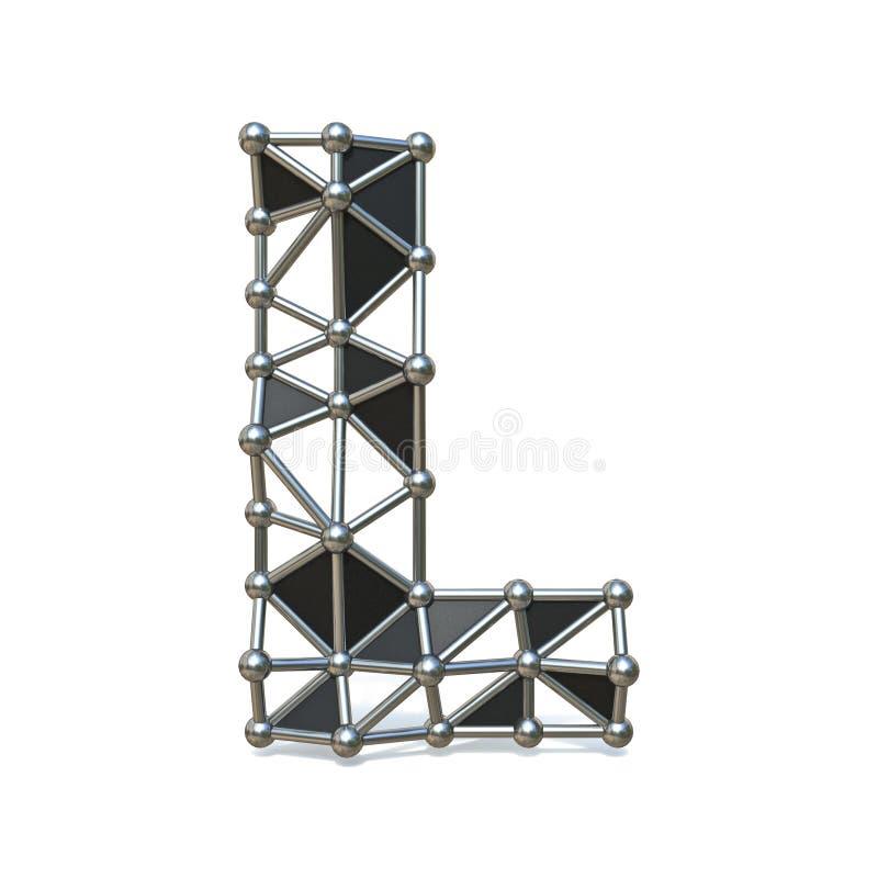 Basse poly lettre noire L 3D de police en métal de fil illustration stock