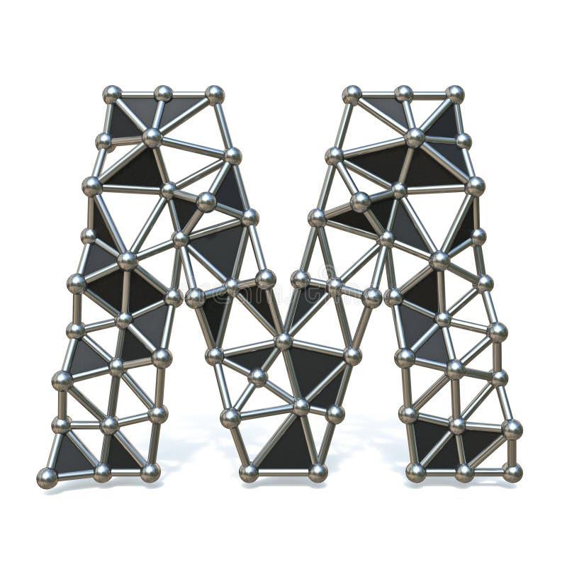 Basse poly lettre noire M 3D de police en métal de fil illustration stock
