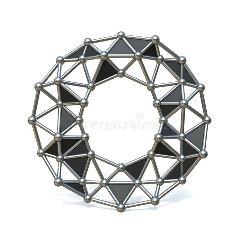 Basse poly lettre noire O 3D de police en métal de fil illustration libre de droits