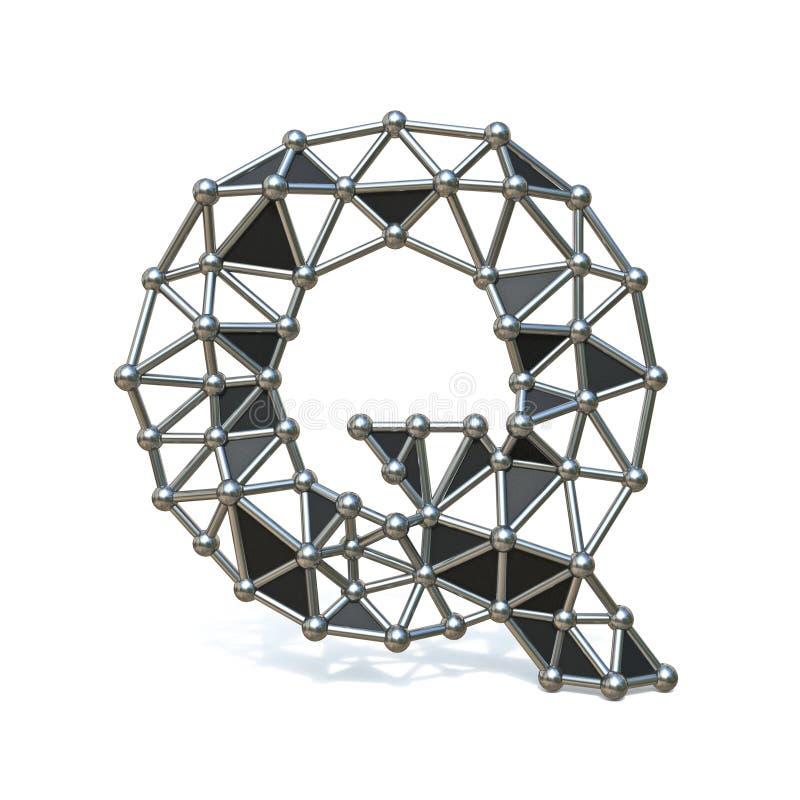 Basse poly lettre noire Q 3D de police en métal de fil illustration stock