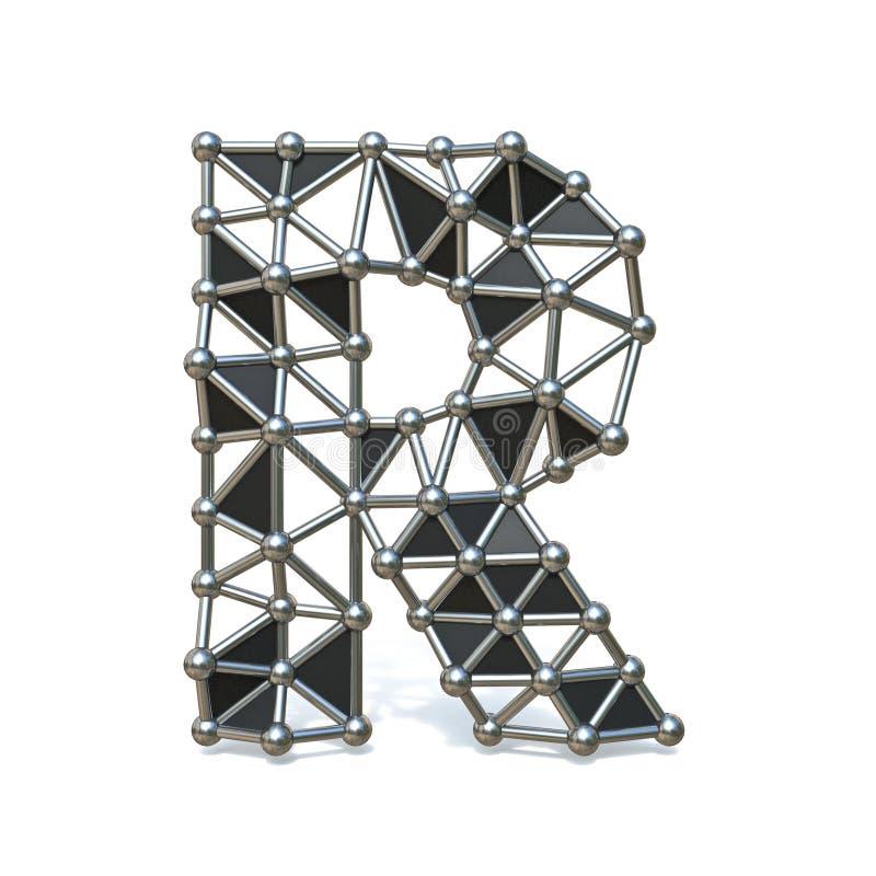 Basse poly lettre noire R 3D de police en métal de fil illustration de vecteur