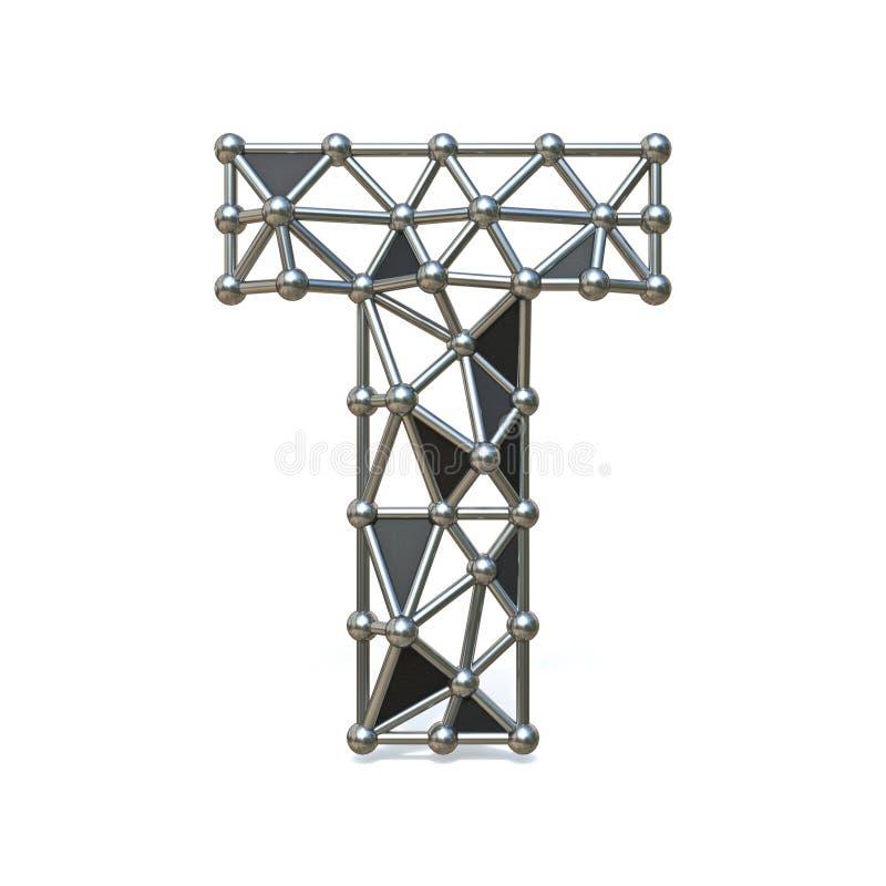 Basse poly lettre noire T 3D de police en métal de fil illustration de vecteur
