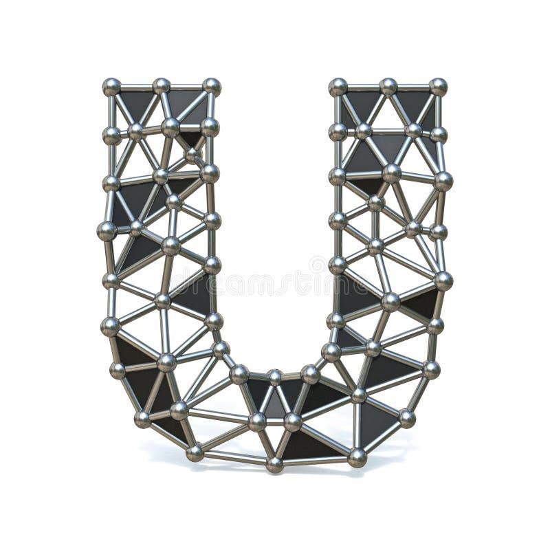 Basse poly lettre noire U 3D de police en métal de fil illustration de vecteur