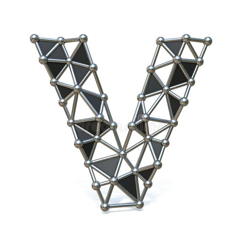 Basse poly lettre noire V 3D de police en métal de fil illustration de vecteur
