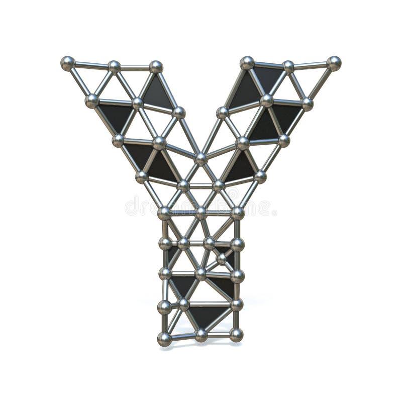 Basse poly lettre noire Y 3D de police en métal de fil illustration libre de droits