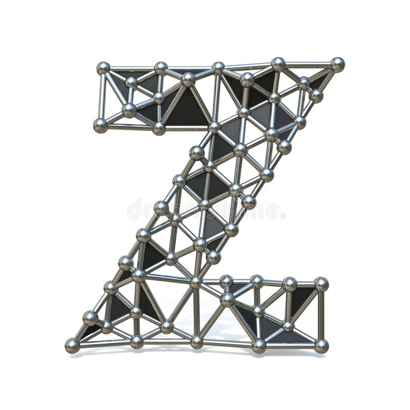 Basse poly lettre noire Z 3D de police en métal de fil illustration libre de droits