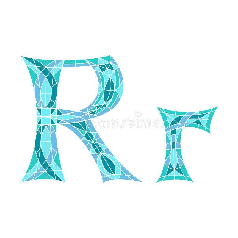 Basse poly lettre R dans le polygone bleu de mosaïque illustration stock