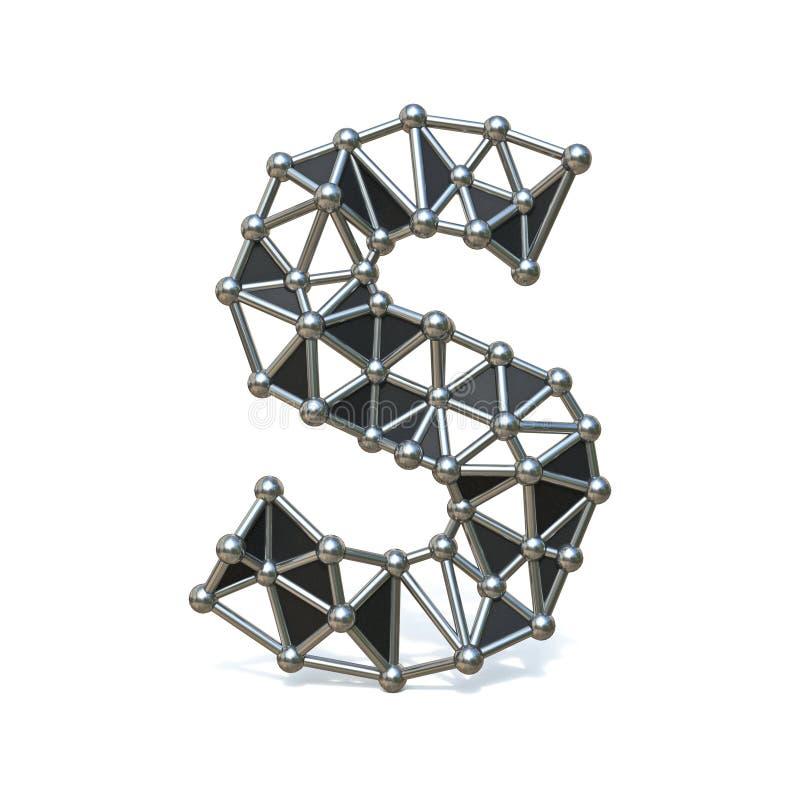 Basse poly lettre S noire 3D de police en métal de fil illustration libre de droits